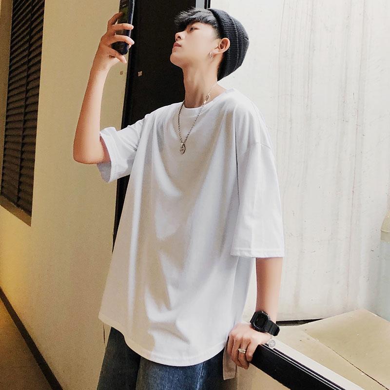 短袖t恤男圆领宽松夏季韩版潮 半袖新款潮流男装纯色体恤衣服