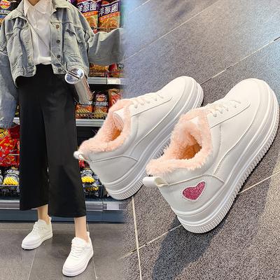 2018新款女加绒皮面厚底小白鞋板鞋