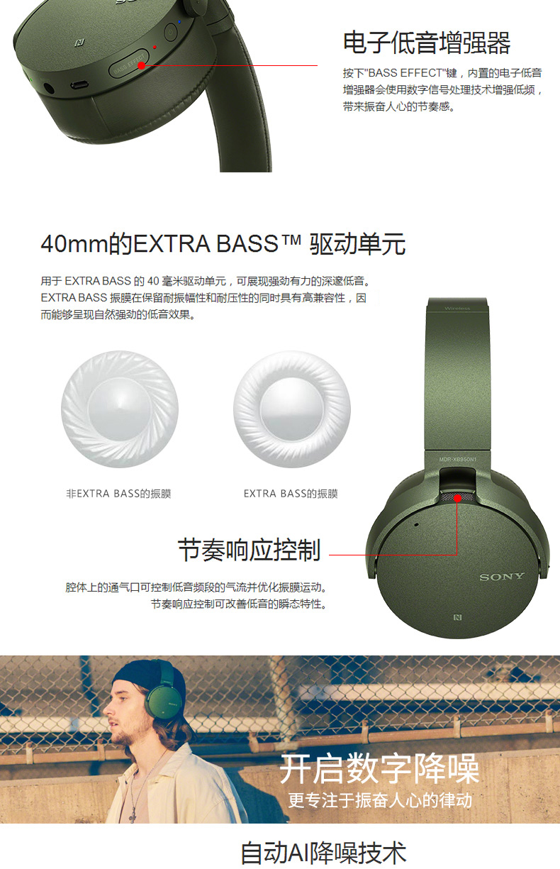 Sony Mdr Xb950n1 Bluetooth Headset Earphones Headphones Wireless Extra Bass Noise Canceling Free Connect App Includes Charging Cable Carry Pouch In The Box 1 X
