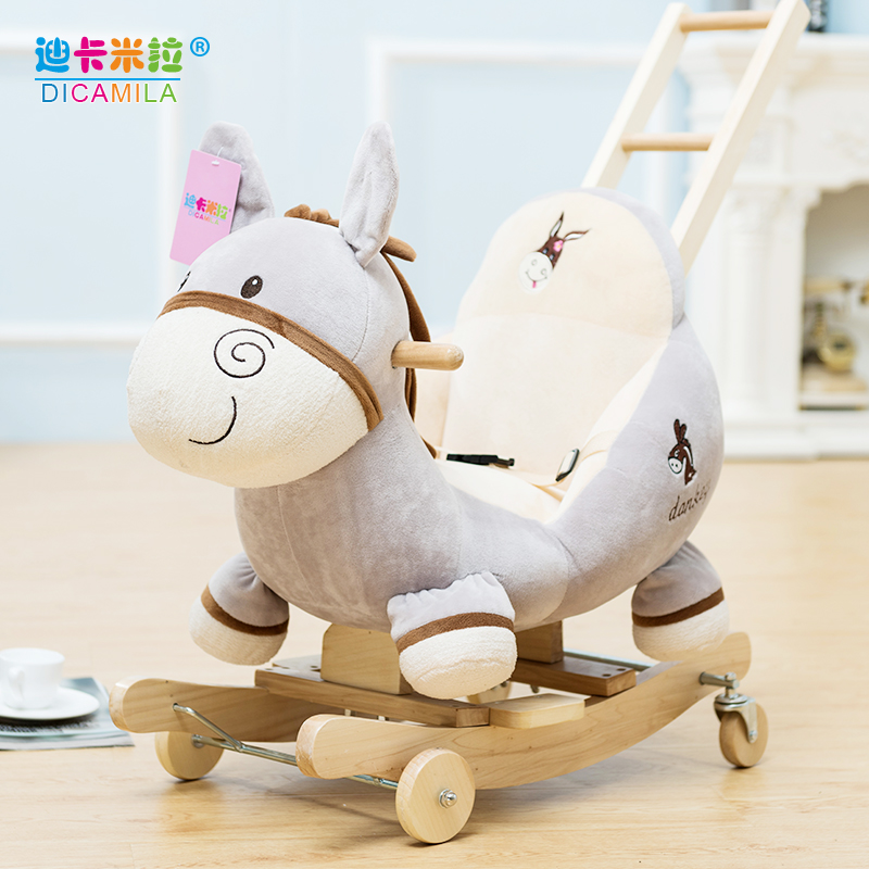 Musical Rocking Horse Girl Solid Wood Rocking Chair Baby Toy Small Wooden  Horse Child Dual Rocking Rocking Car Baby Birthday Gift