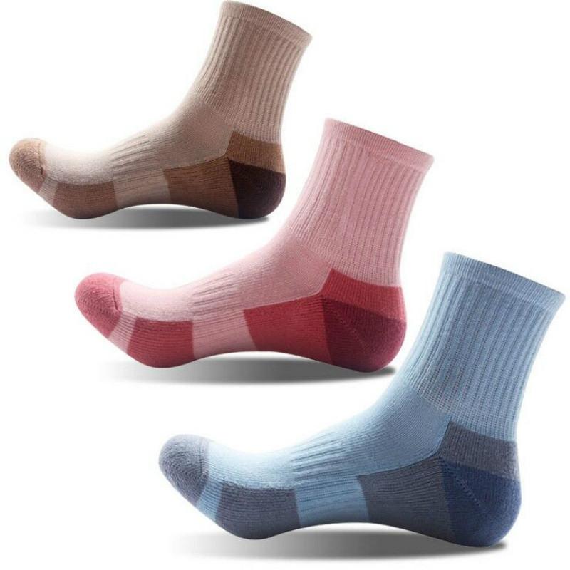 户外运动跑步袜中筒速干袜冬季男女脚底拉毛登山袜毛巾底加厚袜子