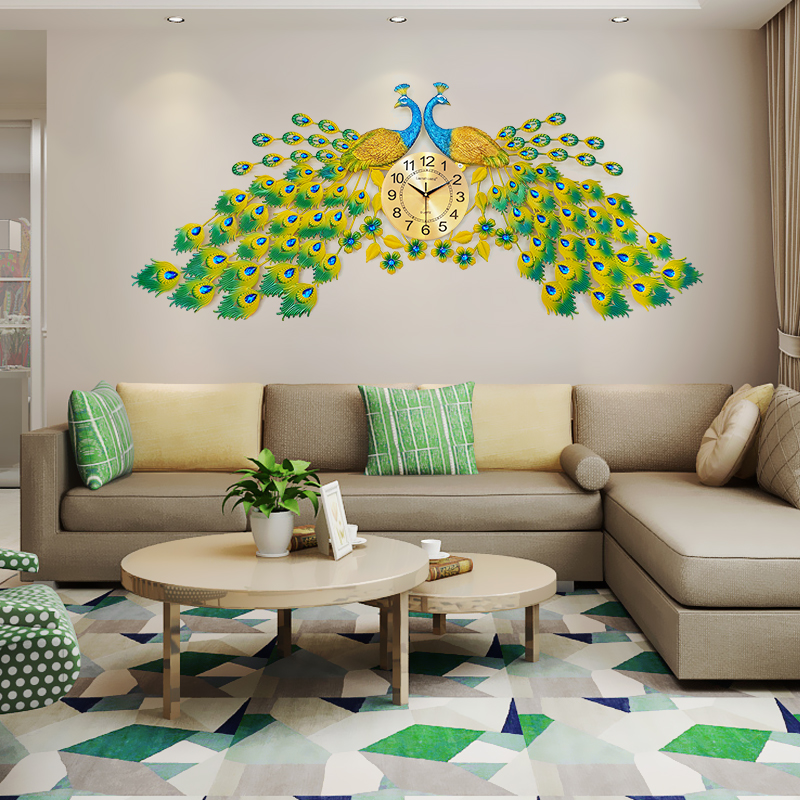 Peacock Wall Clock Living Room Atmosphere Creative Phoenix Wall