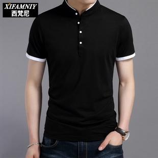 夏款男士韩版修身立领t恤