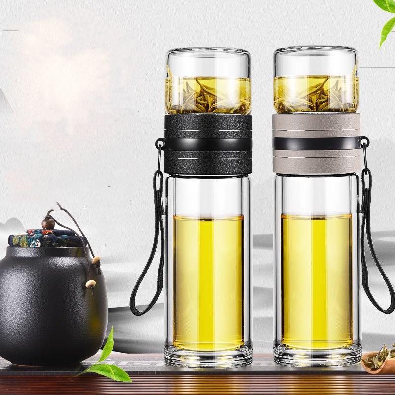 茶水分离泡茶杯双层玻璃杯子创意