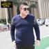 Quần áo nam phổ biến của Howlang cộng với áo len cổ chữ V chất béo XL thêm chất béo - Hàng dệt kim