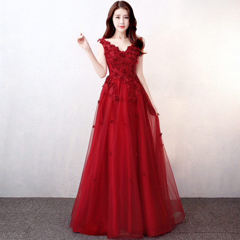 Bridal Toast to Red pregnant women 2017 new winter Wedding banquet door annual evening dress dignified atmosphere