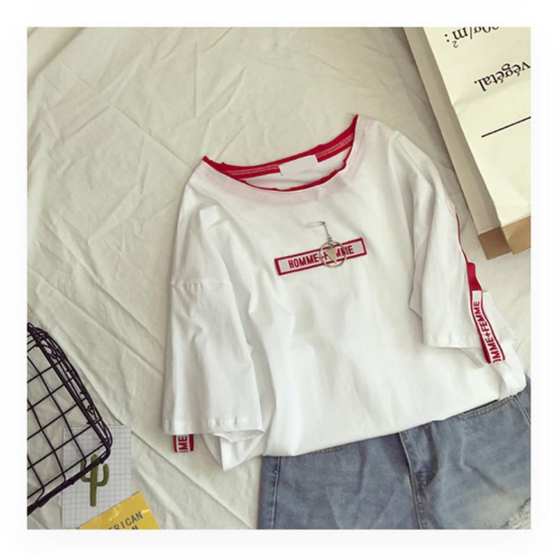 Mùa hè ins ngắn tay T-Shirt nữ Hàn Quốc phiên bản của thủy triều sinh viên lỏng mỏng kích thước lớn hoang dã nửa tay áo chic Han Fan quần áo