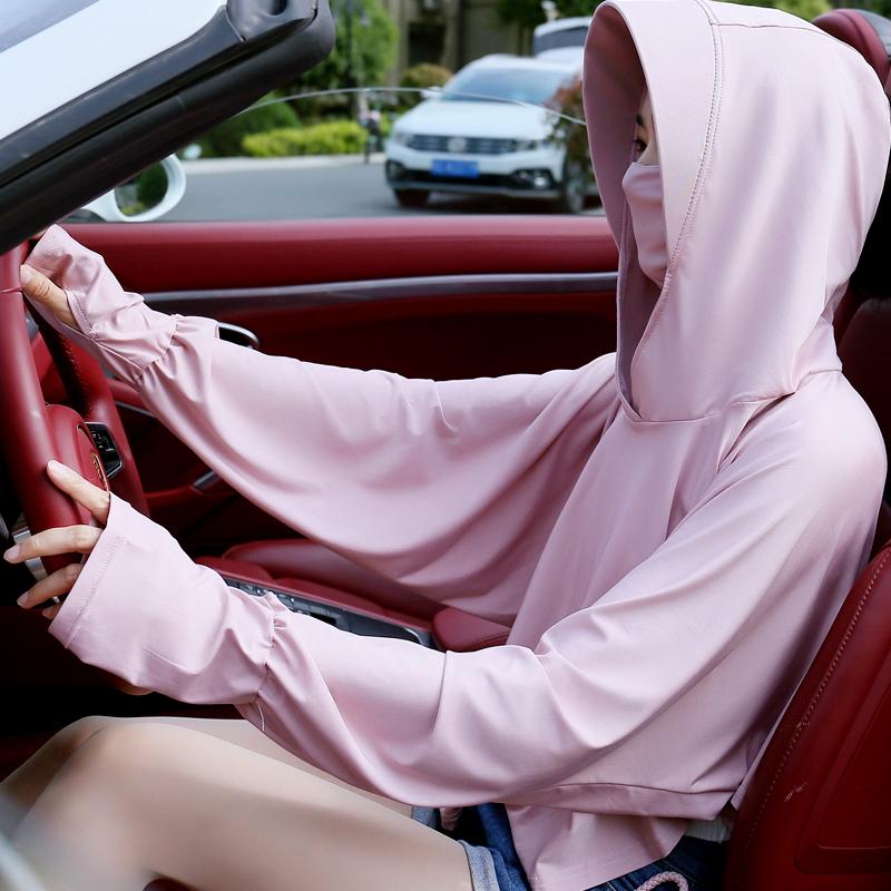 防晒口罩女夏季遮脸薄款多功能纯色亲子骑车开车遮阳护颈面纱披肩