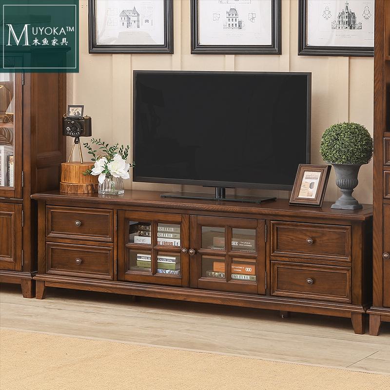美式电视柜客厅木纯地柜乡村电视柜v客厅美式白蜡家具美式茶几实木