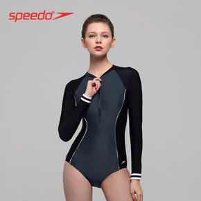 Speedo/ соотношение волны движение мода сращивание бейсбол полоса полу-молния солнцезащитный крем длинный рукав сиамский купальный костюм женщина, цена 5030 руб