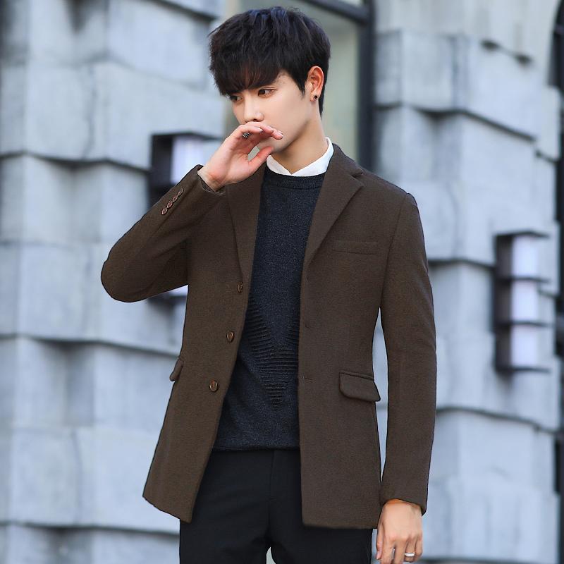 13388ec35 Winter woolen jacket suit male thick Korean slim business casual small suit  men's shirt youth single West