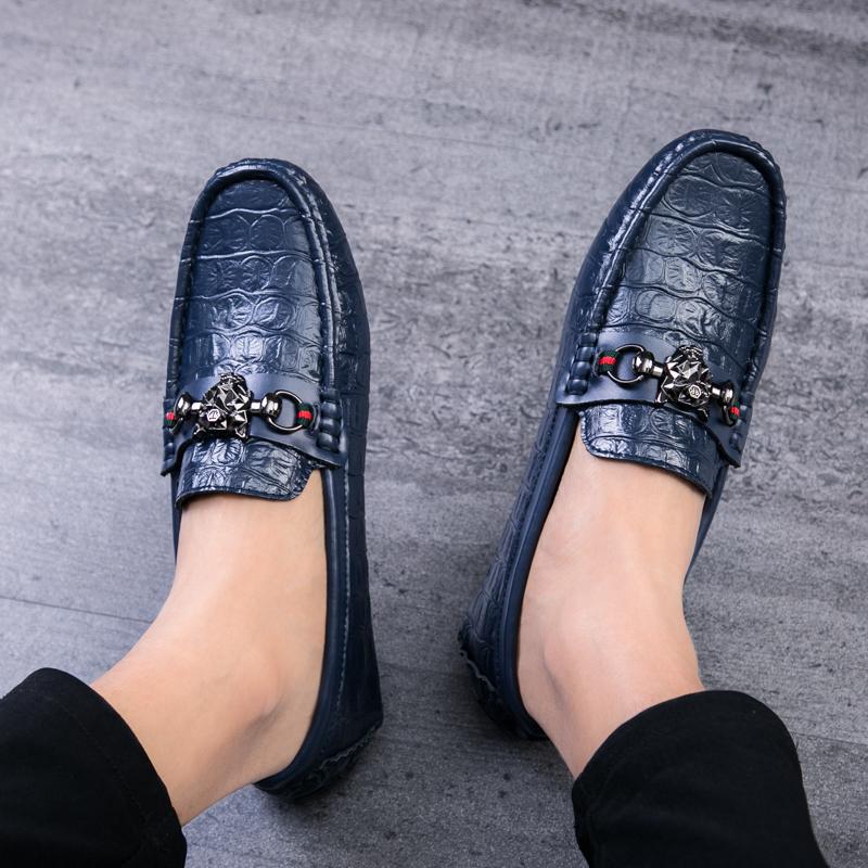 夏季韩版真皮豆豆鞋男软底镂空透气男士休闲鞋百搭个性潮懒人鞋子