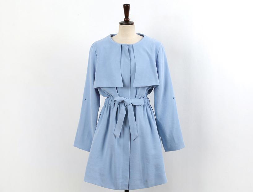Z06-P20粉色蓝色收腰带风衣