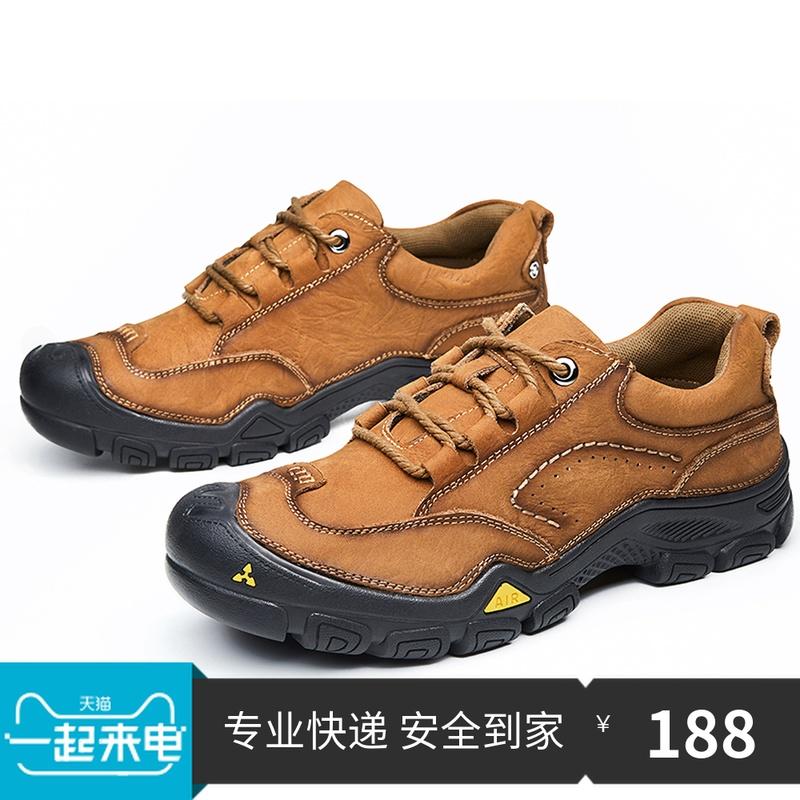 秋冬户外运动休闲男鞋真皮头层牛皮耐磨登山鞋防滑柬工装JEEP皮鞋