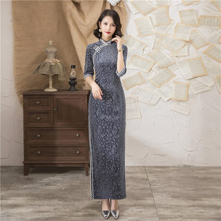 New style daily improved cheongsam young girl fashion temperament retro Chinese style long banquet cheongsam skirt