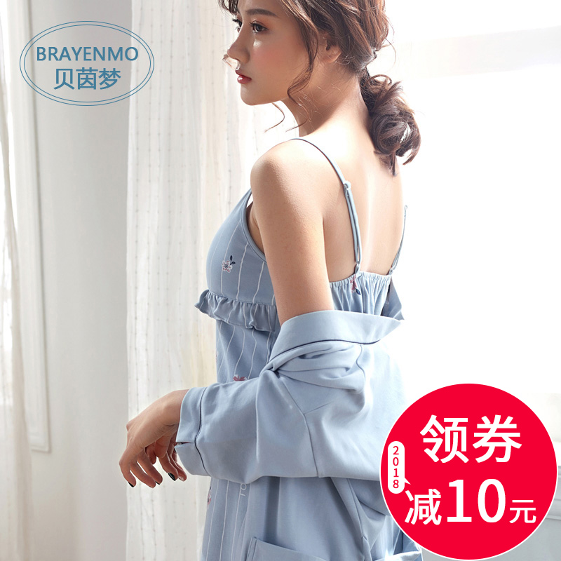 Sleeping dress female summer cotton Korean fresh students can wear home  wear suspenders sexy pajamas with chest pad two-piece 4aee2f025