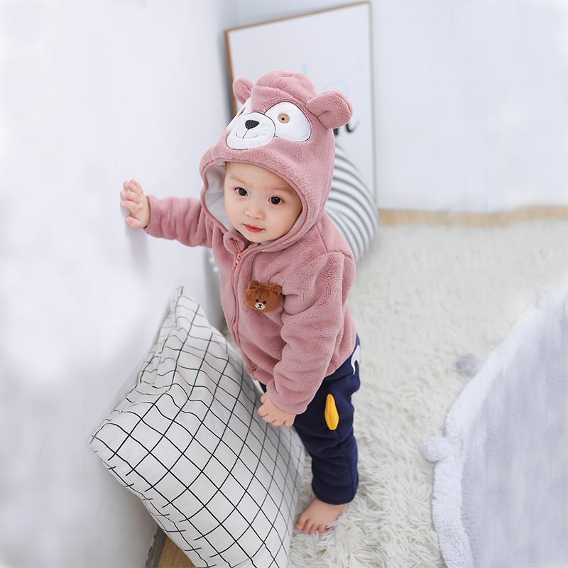 小童公主绒冬装春秋冬季宝宝0加绒1岁可爱超萌男女童外套珊瑚婴儿