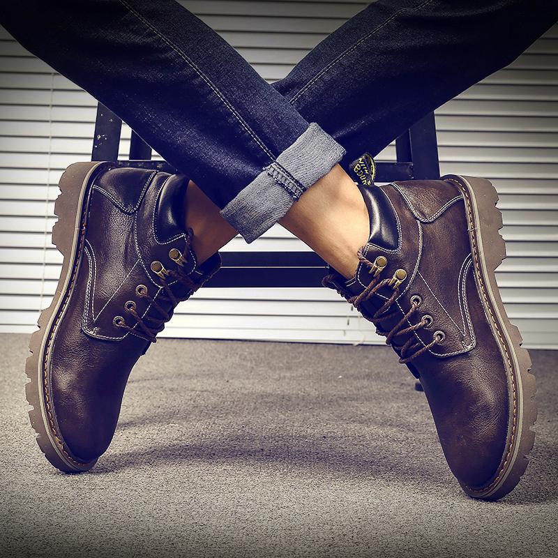 马丁靴男潮英伦风秋季短靴百搭高帮鞋男中帮工装靴子雪地靴皮靴男