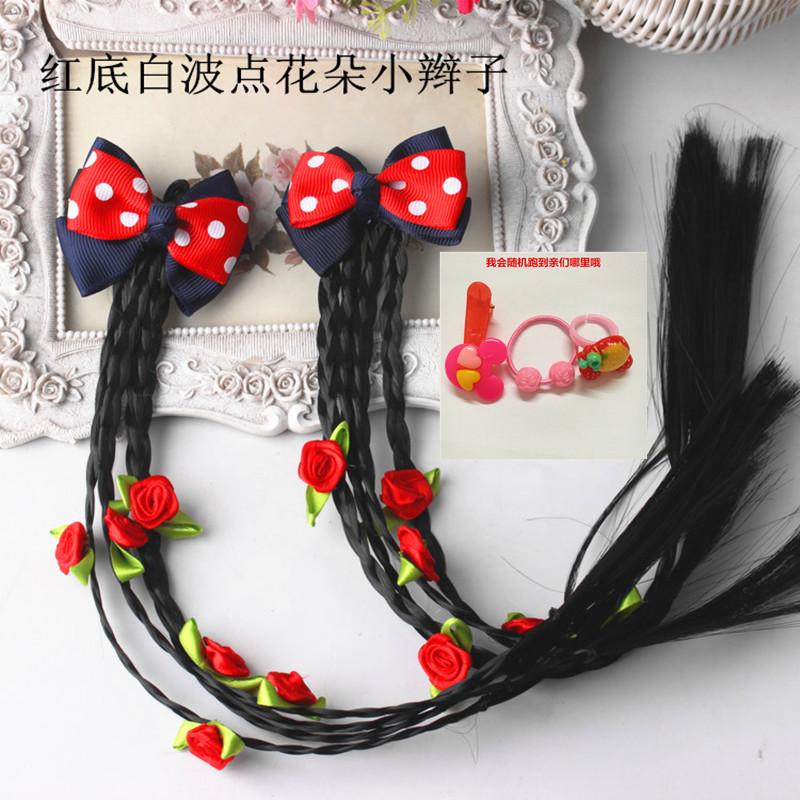 女寶寶新年發夾兒童小辮子發飾蝴蝶結假發頭飾品公主可愛頭花對夾