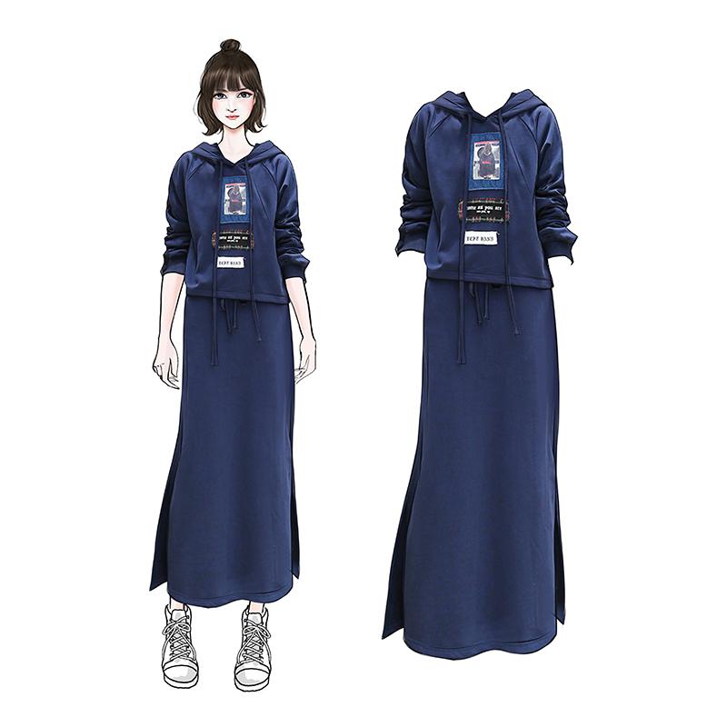 2018秋冬新款加厚加绒卫衣半身长裙两件套微胖女减龄套装大码女装