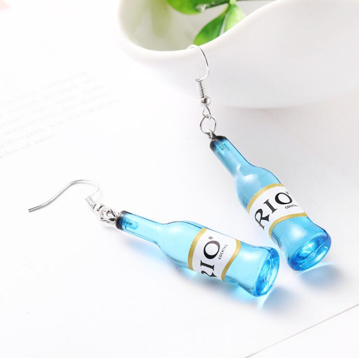 WINE RED BLUE BOTTLE EARRINGS