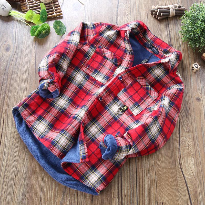 男童加绒保暖衬衫2018冬款儿童装磨毛格子加绒上衣中大童加厚夹绒