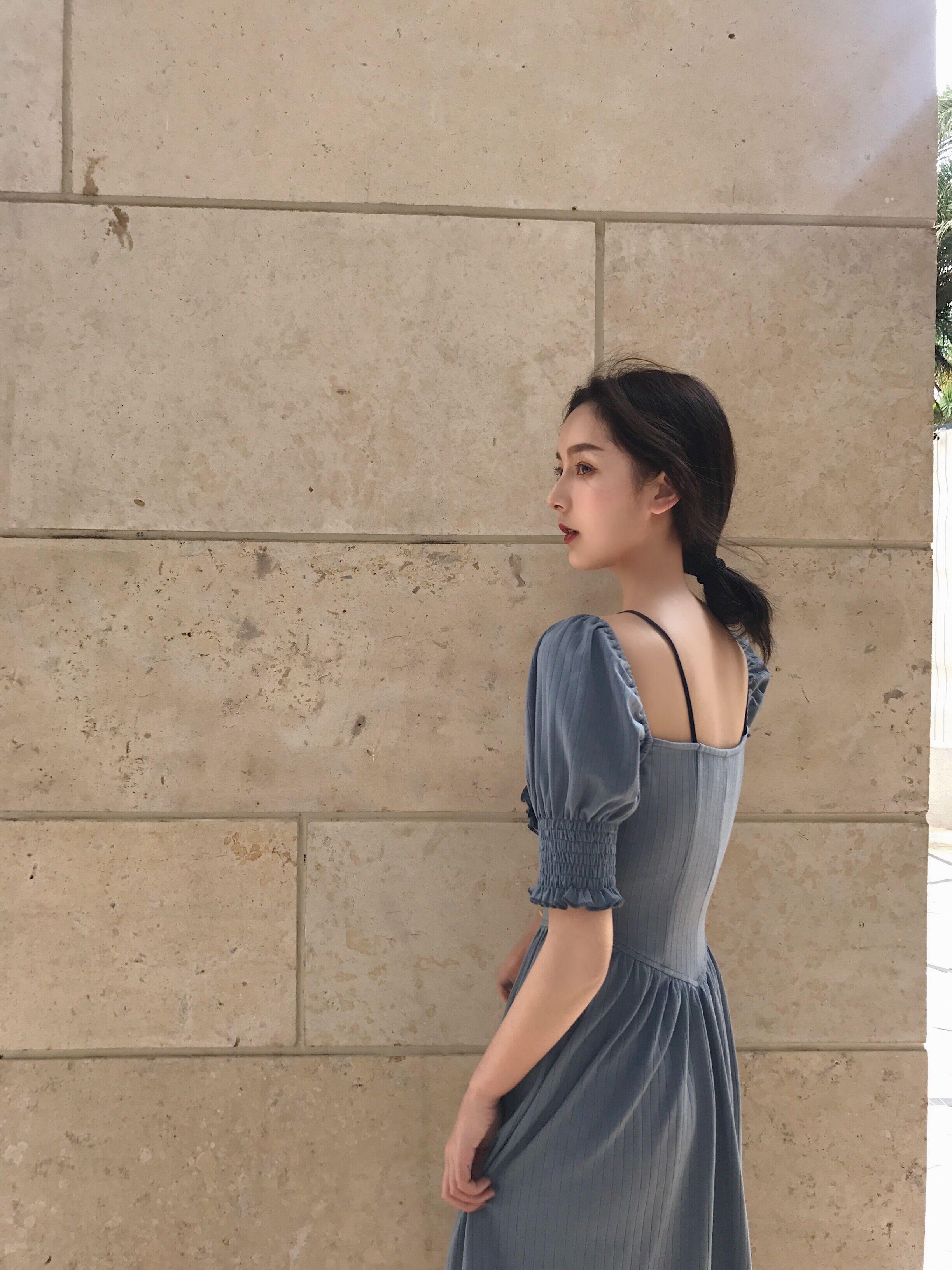 Đào có thể PEACHCOLA xem indigo Độc quyền ban đầu tòa án gió nhung dây đeo Knit dress