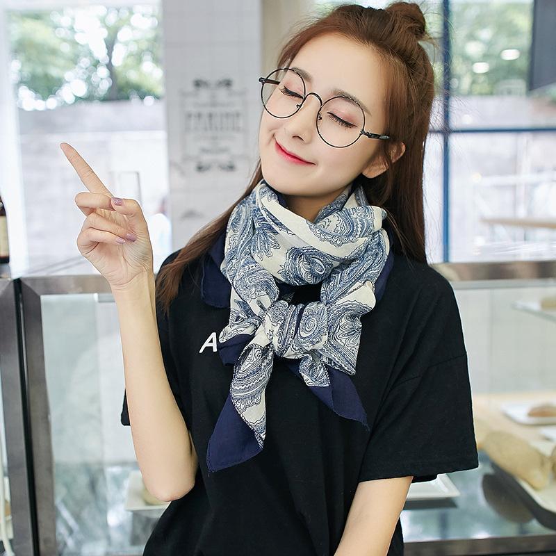 2020春秋女士女围巾超大韩版百搭棉麻披肩长款防晒多功能印花丝巾