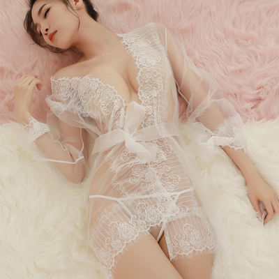 0d695573fa78 Sexy Pajamas Women s Summer Lace Perspective Tulle Sling ...