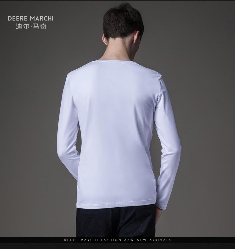 Dilmaqi mùa xuân 3D in patch Slim dài tay T-Shirt nam đáy áo sơ mi tops mất M07553 ao thun nam