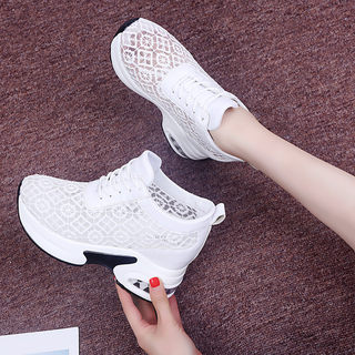 Women's shoes within the higher 8cm thick crust increased 2020 summer new mesh breathable sports and leisure shoes mesh shoes Dad