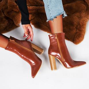 Европа и америка скорость продавать через ins новинка зимний осеннний обувь женская наконечник дерево толстая на высоком кабгалстук-бабочкае ботинки women shoes
