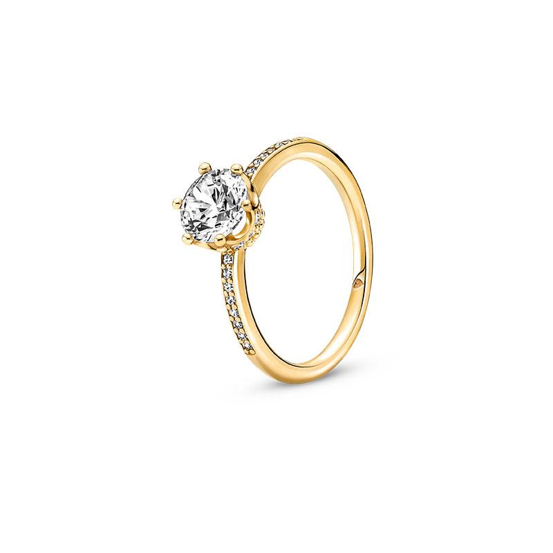Pandora潘多拉闪耀王冠透明单石戒指168289C01七夕情人节礼物