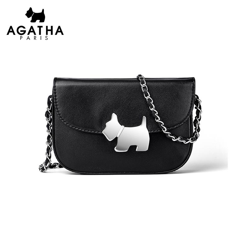 AGATHA时尚小狗黑色羊皮小方包女斜挎包可爱甜美简约气质单肩女包