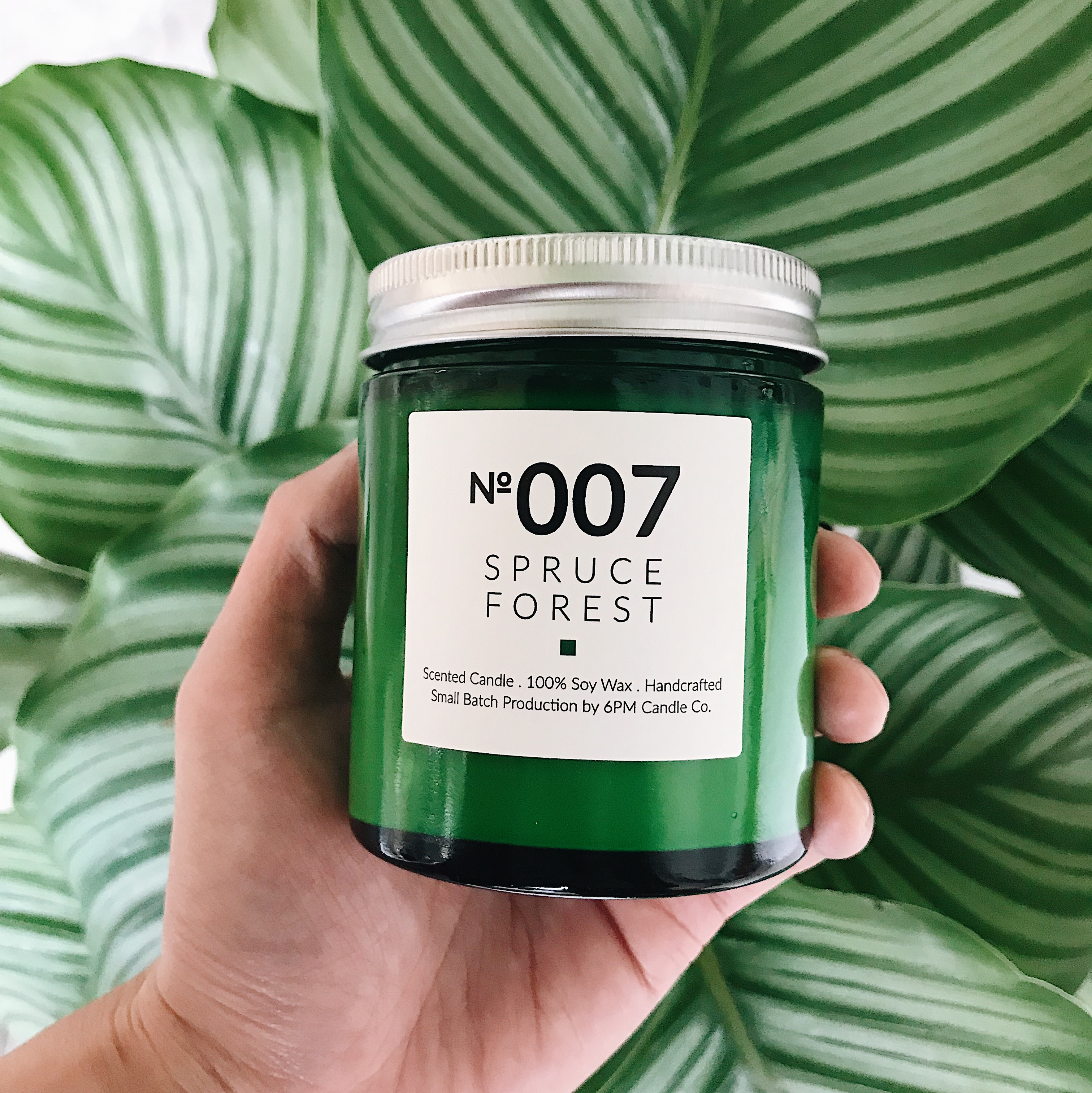 6PM Candle Co small Firefly green bottle natural organic soy wax scented  candle interior fragrance