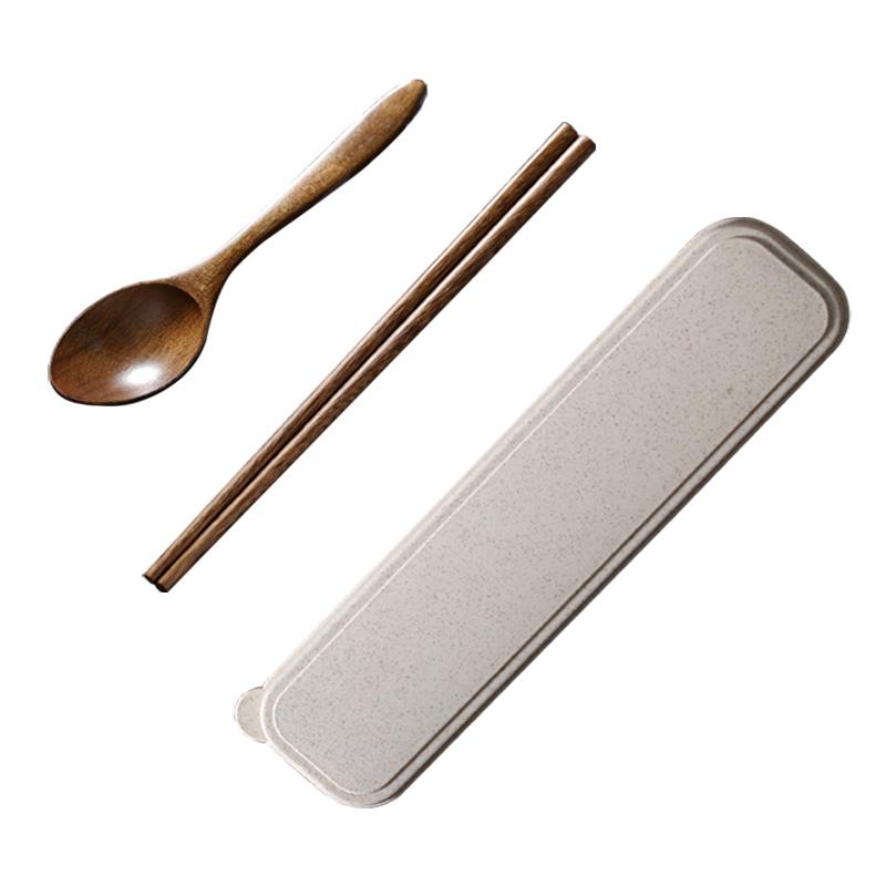 抗菌筷子勺子套装木质筷勺单人装便携式学生上班外带收纳盒餐具盒