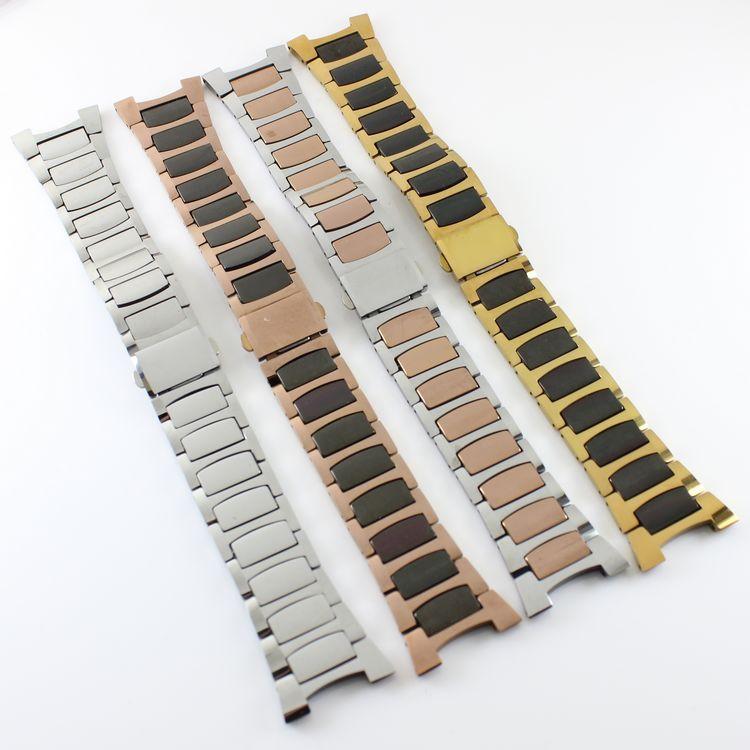 代替件 配guzun古遵8076L女士钨钢玫瑰金色手表带表链8076手表带