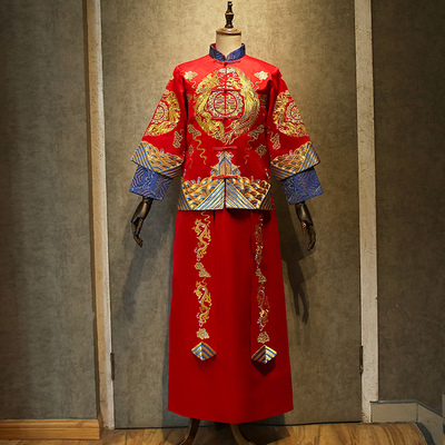 Traditional Chinese Clothing Chinese Dress Wedding Dress Bride Wedding Dress Ancient Dress Wine Dress Longfeng Dress
