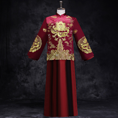 Traditional Chinese Clothing Chinese Large Size Tang Dress Restoration Star Longfeng Dress Bride toast dress