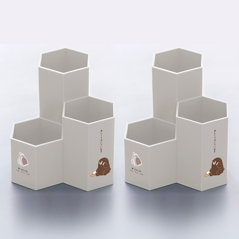Hexagon Pen Holder - Free Bear - Beige (thick Material) 2 Pack