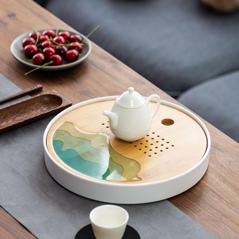 干泡茶盘家用功夫茶具小茶台小型茶海简约储水式托盘竹制日式茶托
