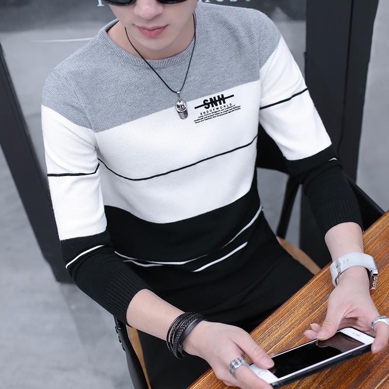 男士毛衣冬季加绒加厚线衣韩版修身保暖针织衫男装青年潮流打底衫