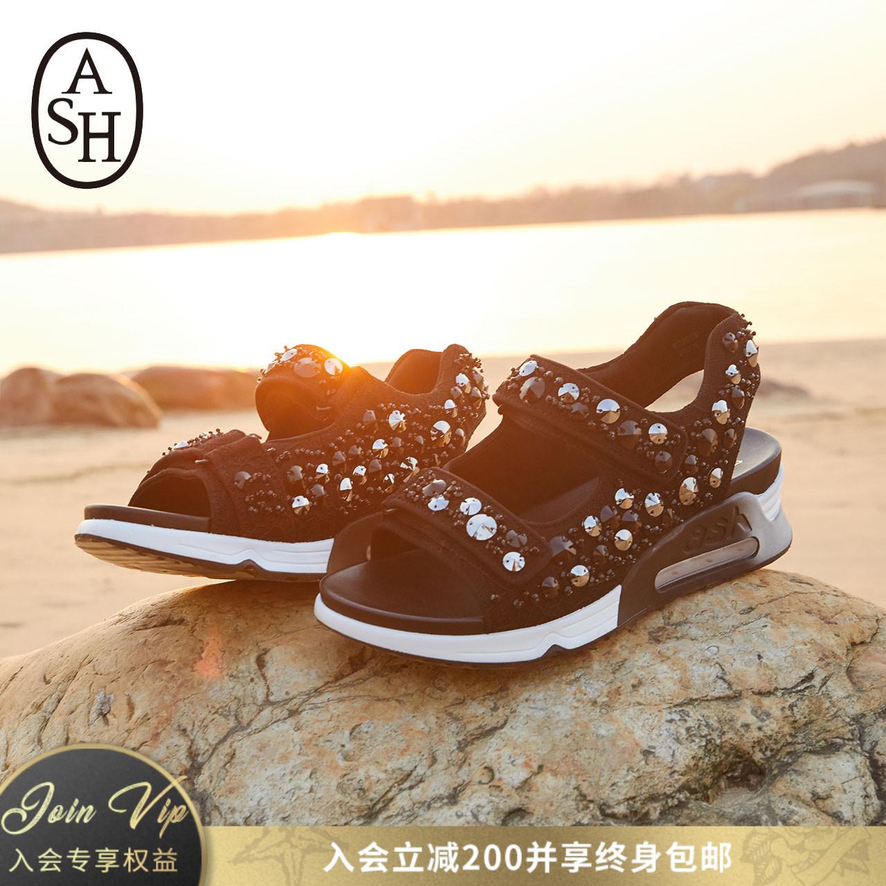 ASH女鞋2018夏季新款LULLABYBIS鉚釘運動氣墊增高涼鞋女