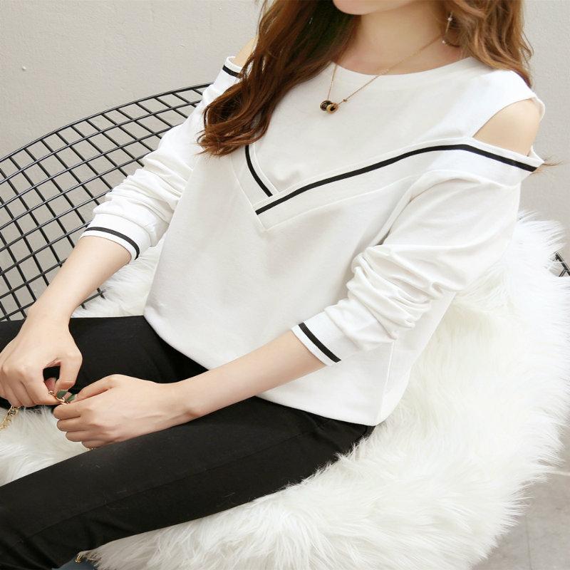 秋装长袖t恤女18新款韩版学生宽松ins露肩打底衫秋衣外穿上衣服23