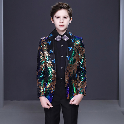 Boy's jazz dance sequin coats chorus host singer performance jacket blazers Boy dress suit handsome British children suit boy show