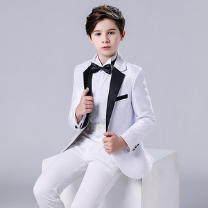 Boy's jazz dance sequin coats chorus host singer performance jacket blazers Children suit flower boy three piece suit boy performance dress