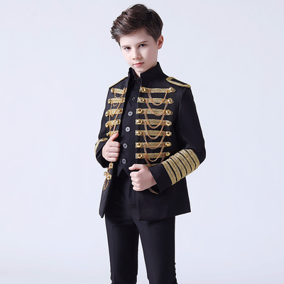 Boy's jazz dance sequin coats chorus host singer performance jacket blazers Boy dress suit suit children model show flower boy suit boy host piano performance suit