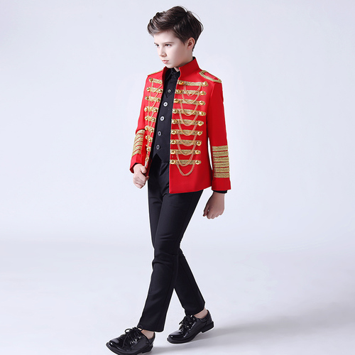 Boy's jazz dance sequin coats chorus host singer performance jacket blazers Children model show dress boys stand collar suit set handsome piano host