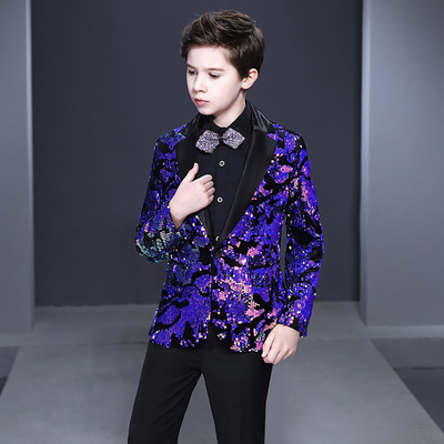 Boy's jazz dance sequin coats chorus host singer performance jacket blazers Children suit flower boy suit boy piano performance handsome Korean boy show host
