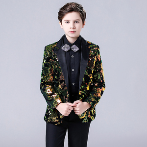 Boy's jazz dance sequin coats chorus host singer performance jacket blazers Children suit boy model show dress suit